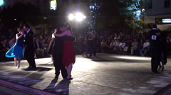 1238  Night tango dancers on a stage Stock Footage
