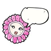 flower face cartoon - stock illustration