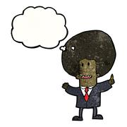 Cartoon businessman with big afro Stock Illustration
