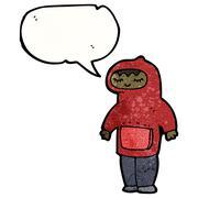 Stock Illustration of teen in hooded sweatshirt cartoon