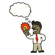 Stock Illustration of cartoon man with brilliant idea