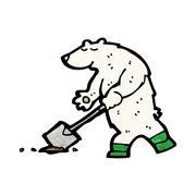 cartoon polar bear - stock illustration