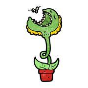 cartoon carnivorous plant - stock illustration