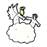 cartoon angels in heaven - stock illustration