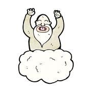 Stock Illustration of cartoon god on cloud