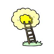 Stock Illustration of cartoon ladder to heaven