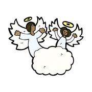cartoon angel in heaven - stock illustration