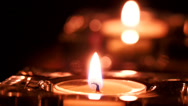 Stock Video Footage of Closeup of candle flame and its reflection