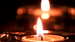 Candle flame and its reflection in the mirror Stock Footage