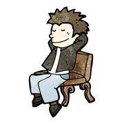 Stock Illustration of cartoon man relaxing on bench