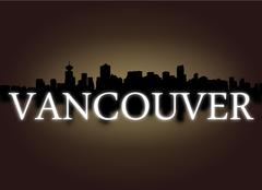 vancouver skyline reflected with dramatic sky and text illustration - stock illustration