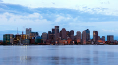 Timelapse of Boston Skyline in Massachusetts - USA Stock Footage