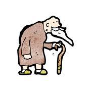 cartoon elderly man - stock illustration