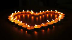 Candles Heart Dolly Stock Footage