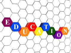 Education in color hexagons in cellular structure Stock Illustration
