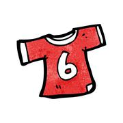 cartoon sports shirt with number six - stock illustration