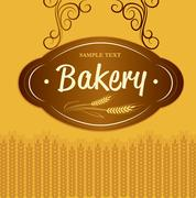 bread and wheat sign - vector illustration - stock illustration