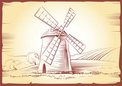 windmill . Bakery. labels, pack for bread, bakery - stock illustration