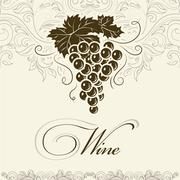 Bunch of grapes for label of wine - stock illustration