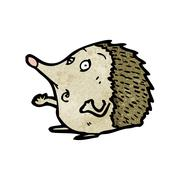 cartoon hedgehog - stock illustration