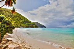 Sandy tropical beach with an azure ocean Stock Photos