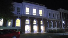 Front exterior university building night  Stock Footage