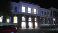 Stock Video Footage of front exterior university building night