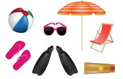 summer color vector icons - stock illustration