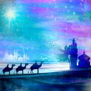 Classic three magic scene and shining star of bethlehem Stock Illustration