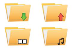 folder vector icons - stock illustration