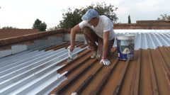 Roof Painting NTSC Stock Footage