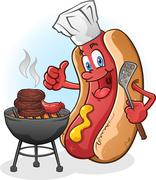 Hot Dog Cartoon Character Grilling Burgers Outside - stock illustration
