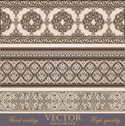 Stock Illustration of vintage border design elements collection.  retro floral ornament.