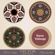 vintage circle frames and borders design elements collection. - stock illustration