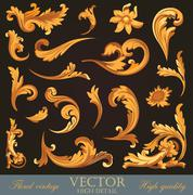 gold vintage elements. high detail floral ornament.  flourish pattern. - stock illustration