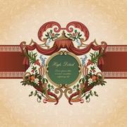 Vintage card design. floral ornament.  flourish pattern background. Stock Illustration