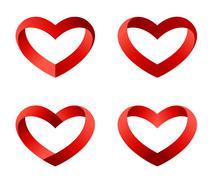 Heart icons set. infinite love looped ribbon style. Stock Illustration
