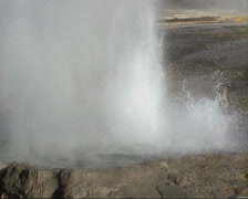 Eruption Cliff geyser, Black Sand Basin, Yellowstone National Park Stock Footage