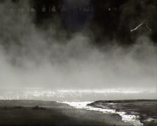 Steam in Black Sand Basin, Yellowstone National Park - close up Stock Footage