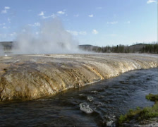 River streaming along vulcanic area Black Sand Basin, Yellowstone National Park Stock Footage