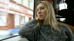 Beautiful young woman seat in vagon subway Stock Footage
