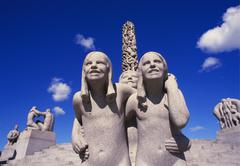 vigeland sculpture, frogner park, oslo, norway - stock photo