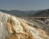Stock Video Footage of travertine terraces of Mammoth Hot Springs, Yellowstone National Park