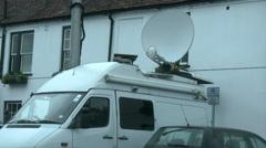 Satellite uplink truck Stock Footage