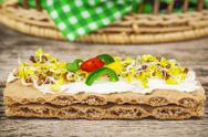 Stock Photo of Whole grain crisp bread with sprouts on wooden table