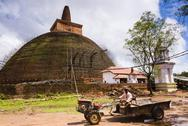 Stock Photo of renovation work at abhayagiri dagoba, abhayagiri monastery