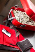 suitcase with dollars - stock photo