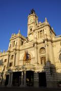 town hall, plaza del ayuntamiento, valencia, spain, europe - stock photo
