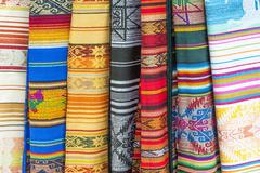 Otavalo market, traditional colourful textiles, imbabura province, ecuador Stock Photos