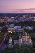 Elevated view at dusk over old town, unesco world heritage site, riga, latvia Stock Photos